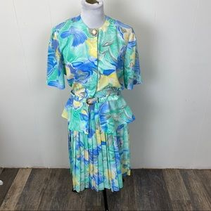Vintage Aqua Blue Skirt and Blouse set